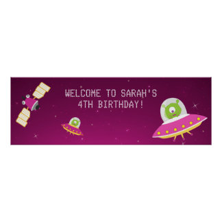 Outer Space Alien Girl Birthday Party Banner Poster