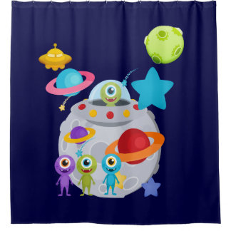 Outer Space Aliens UFOs Planets Shower Curtain
