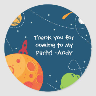 Outer Space Astronaut Birthday Favour Tag Sticker