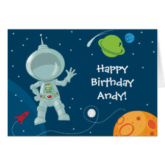 Outer Space Astronaut Birthday Greeting Card