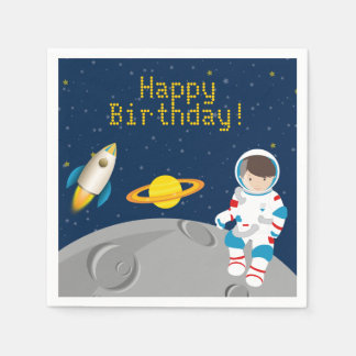 Outer Space Astronaut Birthday Paper Napkins