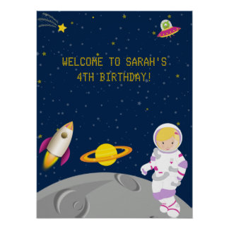 Outer Space Astronaut Birthday Poster