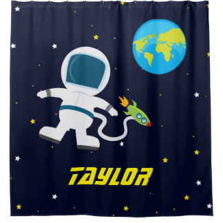 Outer Space Astronaut, Kids Shower Curtain