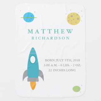 Outer Space Birth Announcement Baby Blanket