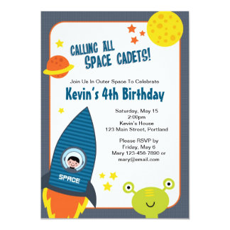 Outer Space Boy Birthday Invitation