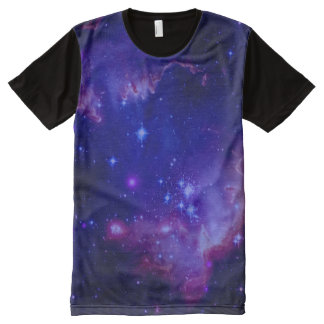 Outer Space Galaxy / Nebula Blue Tint Stars All-Over Print T-Shirt
