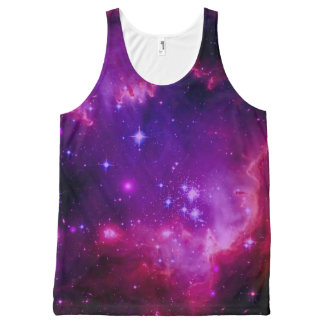Outer Space Galaxy / Nebula Purple Tint Stars All-Over Print Singlet