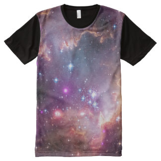 Outer Space Galaxy / Nebula Purple Tint Stars All-Over Print T-Shirt