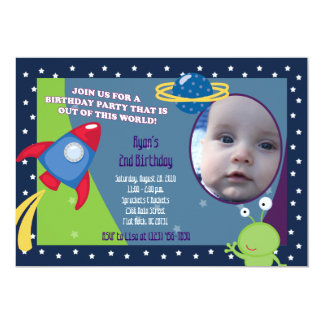 Outer Space Photo Birthday Invitation 5x7