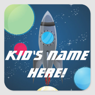 Outer Space Rocket Custom Name School Classrom Square Sticker