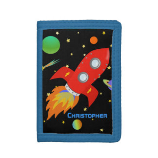 Outer Space Rocket Personalized Tri-fold Wallet