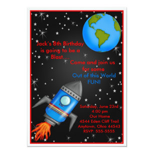 Rocket ship birthday invitations announcements zazzle outer space rocket ship birthday invitations filmwisefo
