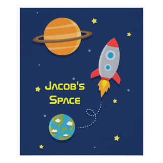 Outer Space Rocket Ship For Kids Room Poster