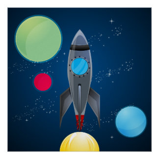 Outer Space Rocket Ship Poster