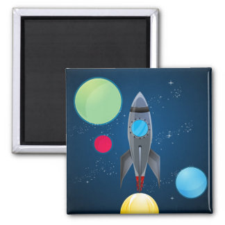 Outer Space Rocket Ship Square Magnet