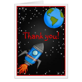 Outer Space rocket ship  thank you Note card