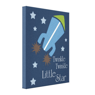 Outer Space Rockets Twinkle Twinkle Navy Blue Canvas Print