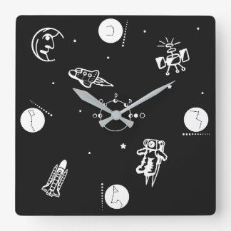 Outer Space Square Wall Clock