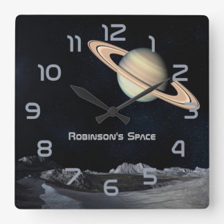 Outer Space themed Home Decor personalised Square Wall Clock