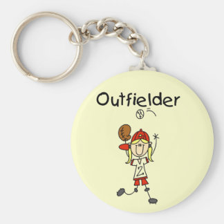 Outfielder-Girl Baseball Tshirts and Gifts Basic Round Button Key Ring