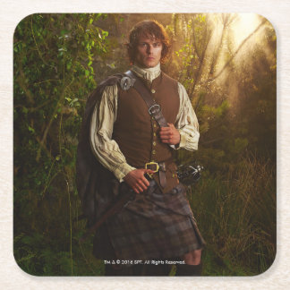 Outlander | Jamie Fraser - In Woods Square Paper Coaster