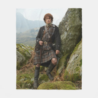 Outlander | Jamie Fraser - Leaning On Rock Fleece Blanket