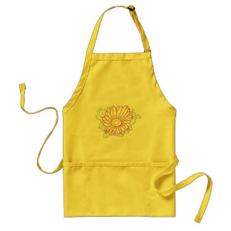 Outline art drawing, fuchsia flower coloring apron