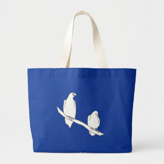 Outline Art Drawing of Two Birds on a Branch Bags