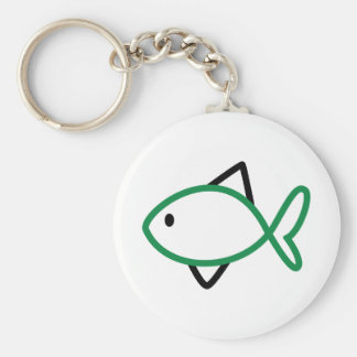 Outline Fish Basic Round Button Key Ring
