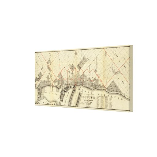 Outline Map of Duluth and Suburbs Canvas Print
