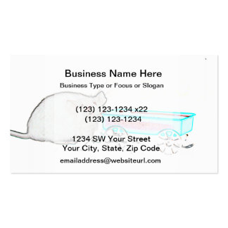 outline mouse with wagon cute mice animal business card