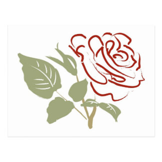 Outline of a Red Rose Postcard
