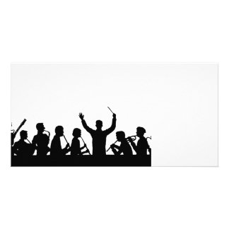 Outline of conductor and band black on white photo cards