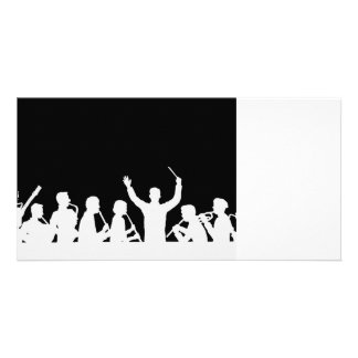 Outline of conductor and band white on black custom photo card