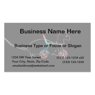 outline white mouse horse toy cute animal business card template