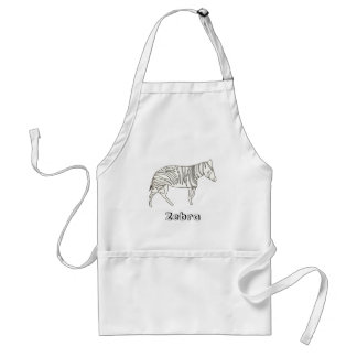 Outline Zebra drawing apron, customized