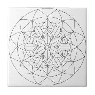 Outlined Geometric Floral Mandala 060517_2 Ceramic Tile