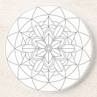 Outlined Geometric Floral Mandala 060517_2 Coaster