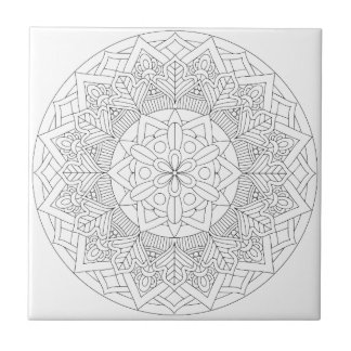 Outlined Mandala Design 060517_3 Ceramic Tile