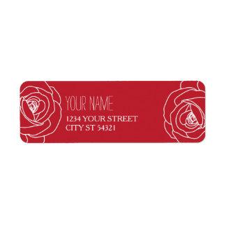 Outlined, Red Rose Address Labels