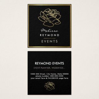 outlined rose flower, events floral square business card