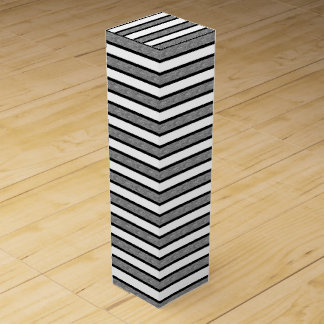 Outlined Stripes Black and Grey Wine Gift Box