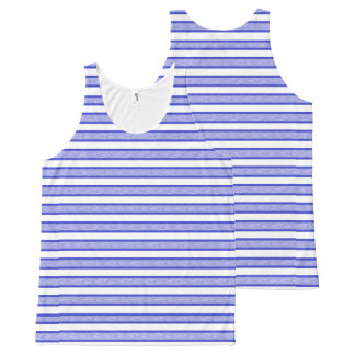 Outlined Stripes Blue All-Over Print Tank Top