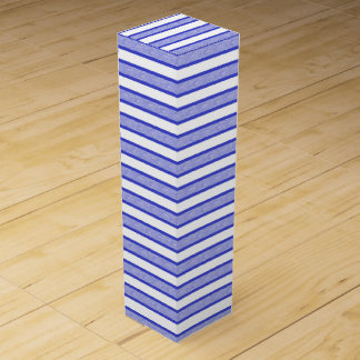 Outlined Stripes Blue Wine Gift Box
