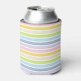 Outlined Stripes Pastel Rainbow Can Cooler