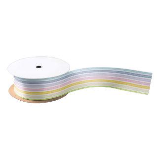 Outlined Stripes Pastel Rainbow Satin Ribbon