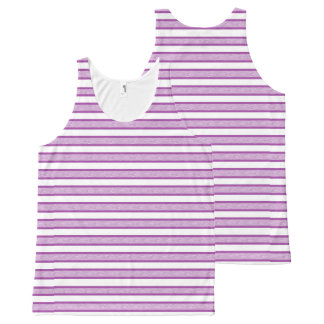 Outlined Stripes Purple All-Over Print Tank Top