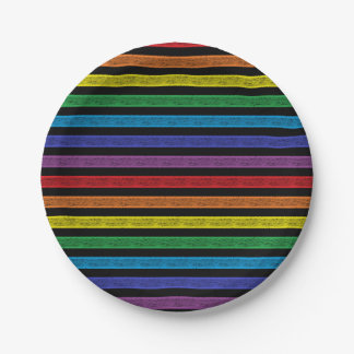 Outlined Stripes Rainbow Black Paper Plate
