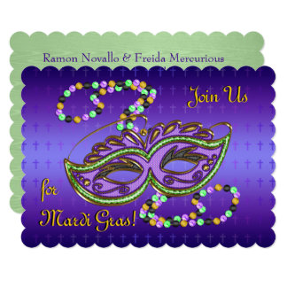 Outrageous Mardi Gras Party - Personalized Card