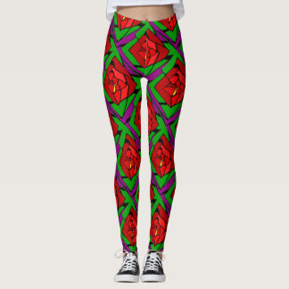 Outrageous Red Rose Pattern Leggings